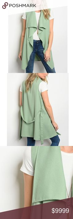 COMING: Sage Green Sleeveless Vested Cardigan Sage Green Sleeveless light weight vested cardigan that features a draped lapel and waist tie 97% POLYESTER 3% SPANDEX golden threads Jackets & Coats Vests