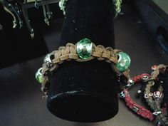 brown leather and grass green glass beads by RocksandRavels, $18.00