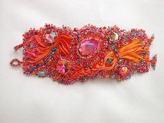 'Firebird' Contemporary and vintage Swarovski, Shibori, seed and bugle beads