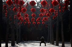 Beijing, China: A woman performs stretching exercises under rows of red lanterns in Ditan park