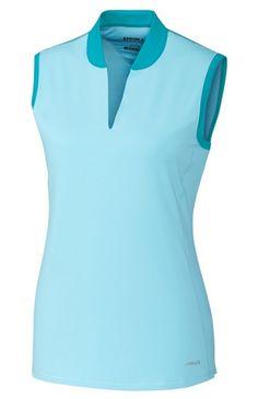 Annika Ladies & Plus Size Calibrate Sleeveless V-Neck Golf Shirts - Shine Blue