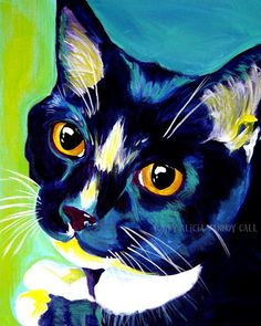 Dawgart: Colorful Pet Portrait Tuxedo Cat Art Print 8x10 by Alicia VanNoy Call. $12.00, via Etsy.