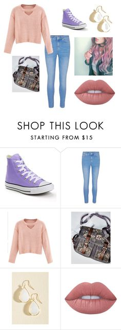 """""""My aesthetic"""" by cally-gem ❤ liked on Polyvore featuring Converse, WithChic, Free People and Lime Crime"""