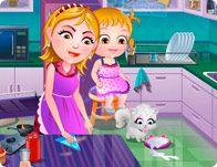 Barbie Yemek Oyunlari Oyna Bebek Hazel In Annesi Bir Aile Bulusmasindan Sonra Evi Temizlemek Icin Cok Calisiyor Ama Bebek Hazel Anne Barbie Oyun Bebek Oyun