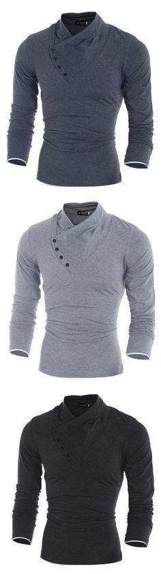 Men'S Slant Button Collar Long-Sleeved T-Shirt 7738
