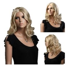 SureWells Nice wigs New Products 15% Off Fashion High-end Medium Curly Wave Goden Hair Wigs Blonde Wig For Women Ladies and Girls Human Hair Full Wigs by SureWells. $23.79