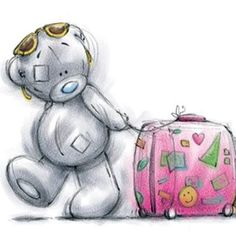 I'm Going to visit you. Teddy Bear Images, Teddy Pictures, Cute Pictures, Tatty Teddy, Watercolor Card, Teddy Bear Drawing, Blue Nose Friends, Bear Graphic, Bear Illustration
