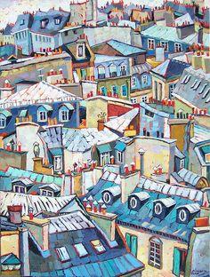 House illustration: Cityscape Painting - Paris Rooftops by Elizabeth Elkin. Paris Illustration, Illustrations, Deco Paris, Paris Rooftops, City Sketch, Guache, Paris Art, True Art, Urban Sketching