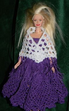 Purple dress, petticoat and shawl for Barbie.