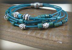 OOAK Leather MultiStrand Bracelet  Turquoise by PurplePansy333, $28.00