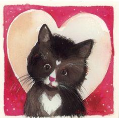 """Kisu/Kiss"" - Minna Immonen (Finland) via Alisa Hamu Mediums Of Art, Kunst Poster, Watercolor Cat, Bird Illustration, Animals Images, Crazy Cats, Cat Art, Cute Drawings, Pet Birds"