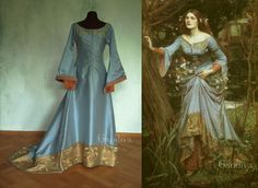 Lovely reproduction of a pre-Raphaelite painting. Medieval gown through the eyes of the Victorians.