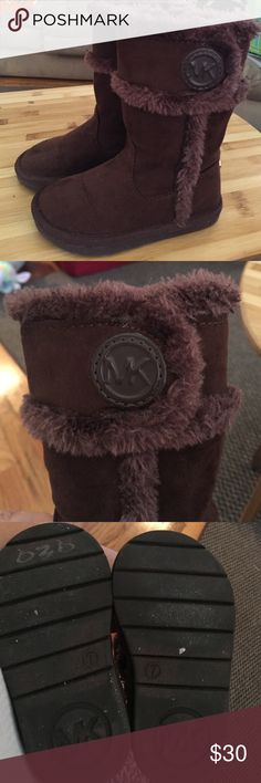 Michael Kors brown suede furry boots In very good condition, I personally feel they are in great condition but will list as good to be safe! If she wore them 2x :( they are adorable!!!! Stylish, warm and comfortable! KORS Michael Kors Shoes Winter & Rain Boots