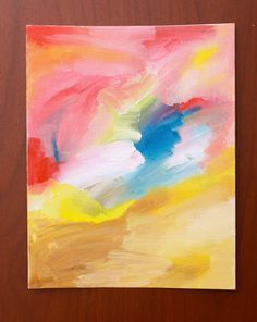 Easy abstract painting anyone can do!  I still need some wall art for my daughter's room...this is something she could do as well!