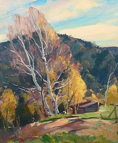 """""""Birches in Fall, Vermont,"""" Emile Albert Gruppe, oil on canvas, 30 x 25"""", private collection."""