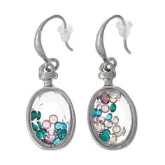 Floating Charm Glass Locket Earrings Oval Silver by fairtrade4life