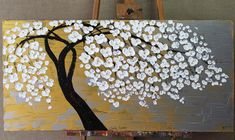 Golden Flower Tree Painting Flower Painting Original Painting Large Painting Impasto Texture Oil Pai