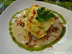 Cod with wild mushroom and walnut sauce at Restaurante La Parrilla, Hervás (Extremadura). http://www.piggytraveller.com/blog/2015/10/08/hervas-eating-restaurante-la-parrilla/