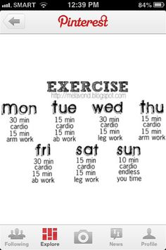 Simple weekly workout