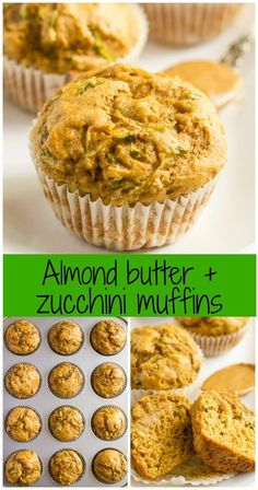 Whole wheat zucchini muffins with almond butter -- a delicious, healthy and protein-packed breakfast or school lunch option!