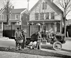 """Circa 1912. """"Coke delivery wagon and workers, Detroit City Gas Company."""