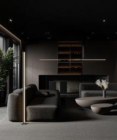 Shaping Slick Dark Interiors With Black & Grey Decor Home Room Design, Interior Design Living Room, Living Room Designs, Interior Decorating, Black Room Design, Modern House Design, Modern Interior Design, Interior Architecture, Dark Living Rooms