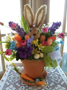 "This is one of my bright Easter creations that's sure to make everyone smile. Visit my Etsy shop or FB page, ""DCM Floral Designs"" for my new spring and Easter offerings. Thanks!"