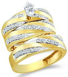 10k Yellow and White 2 Two Tone Gold Mens and Ladies Couple His & Hers Trio 3 Three Ring Bridal Matching Engagement Wedding Ring Band Set - Marquise and Round Diamonds - Solitaire Center Setting (.77 cttw)