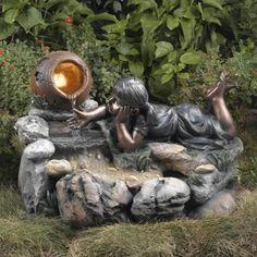 Backyard Water Fountains, Garden Fountains, Fountain Garden, Garden Statues, Diy Water Feature, Backyard Water Feature, Lawn And Garden, Water Garden, Decorative Fountains
