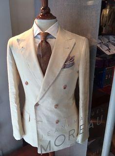 Vintage 1930's 40R 30x33 cream winter white men's suit double ...