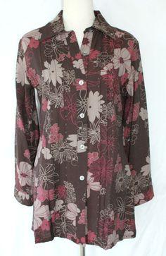 Get it at Bad Reputation! Catwalk Pink & Brown Floral Print #Beaded Blouse, Long Sleeves - Medium 38  #CatwalkOriginals #Blouse #Casual #careerblouse #Flowers #beadedblouse