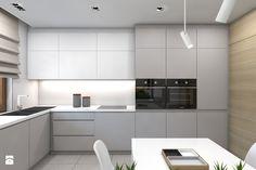 (Dom w okolicy Lublińca) Dom jednorodzinny 7 - Duża otwarta kuchnia w kształcie litery u, styl nowoczesny - zdjęcie od BAGUA Pracownia Architektury Wnętrz