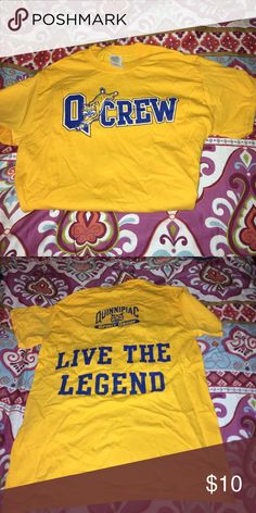 """Quinnipiac University Q-Crew T-Shirt This tee is awesome for any QU sporting event, promoted by the Quinnipiac Spirit Group on campus! """"Live the Legend!"""" Tops Tees - Short Sleeve"""