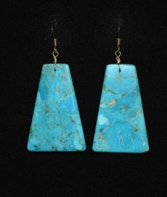 Santo Domingo Earrings Turquoise Mountain Turquoise Slab Cut Artist Bryan Tolvi - Broken Arrow Trading Post