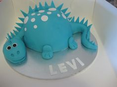 gorgeous blue dino cake