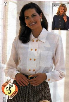 80's double breasted blouse. Source unknown.