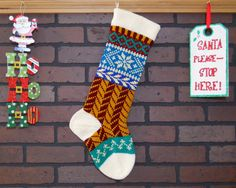Argyle Christmas Stocking Hand Knit in Fern Green, Fair Isle Knit Stocking with Pumpkin Orange Trees, can be personalized Plaid Christmas Stockings, Knit Stockings, Fair Isle Knitting, Hand Knitting, Knitting Ideas, Knitting Daily, Knitting Projects, The Rouge, All Things Christmas