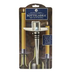 Turn your favorite wine bottles into distinctive candelabra with our Bottelabra candle accessories. Designed to hold tapers, they are easy to use. Just push into almost any empty wine bottle; the rubber rings ensure a secure fit. Bottelabra are made of cast aluminum and designed to hold taper candles securely. #northernlightscandles #candles #bottelabra #taperholder #taper #april #silver #diamond #homedecor #rustic