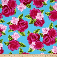 Kanvas English Rosey Rose Bouquet Turquoise from @fabricdotcom  Designed by Maria Kalinowski for Kanvas in association with Benartex, this cotton print is perfect for quilting, apparel and home decor accents. Colors include turquoise, shades of green and shades of pink.
