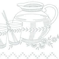 Set of six different free vintage kitchen equipment designs to transfer