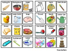 """LOTS of Activities, including: What do I need? -Targets categorization and """"what"""" questions associated with common daily activities, Barrier games, etc! Speech Therapy Activities, Language Activities, Kindergarten Activities, Daily Activities, Speech Pathology, Speech Language Pathology, Speech And Language, What If Questions, This Or That Questions"""
