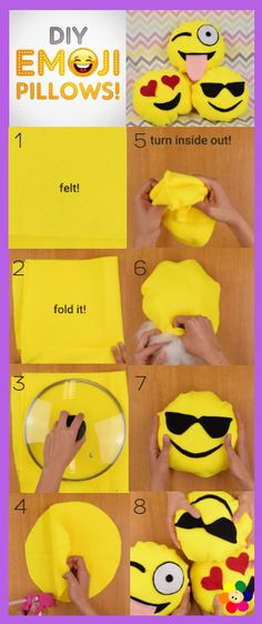 What you need: Felt (different colors) Scissors Hot Glue Gun Cotton More info and instructions about this great tutorial you can find in the source url - above the photo. diycraftstips.org is a collection of the best and most creative do it yourself projects, tips and tutorials. We dont claim ownership to any of these […] #PillowsDIY