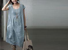 Light Blue   Women  Loose   linen  Long  Dress by clothingshow, $59.90