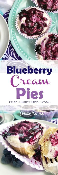No-bake sugar cookie crust + fluffy whipped cream swirled with an easy blueberry compote! These personal blueberry cream pies are heavenly! No sugar, grains, dairy or eggs needed. #paleo #vegan #healthydesserts | PrettyPies.com