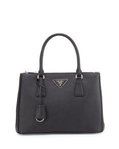 Saffiano Lux Double-Zip Tote Bag, Black (Nero) by Prada at Neiman Marcus.