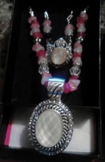 Three Piece Bold Faceted Fuschia Medallion Gift Set - AVON - Necklace, Earrings, & Ring