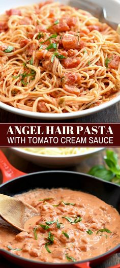 Angel Hair Pasta with Tomato Cream Sauce loaded with chunky tomatoes velvety mascarpone and fresh basil is the ultimate comfort food Easy to make and ready in minutes it s perfect for weeknight dinners Best Pasta Recipes, Cooking Recipes, Healthy Recipes, Angle Hair Pasta Recipes, Pasta Recipes For Dinner, Angel Hair Recipes, Healthy Snacks, Cooking Ideas, Fish Recipes