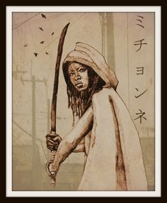 ♥ Print of Original Walking Dead Michonne Portrait drawing, Samurai Style. Michonnes name in Japanese.  ♥ Here at the Beacon Print Shop