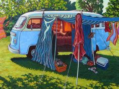 Original Artwork Kombi Camper Painting by a NZ Artist featured at The Little Gallery of Fine Arts