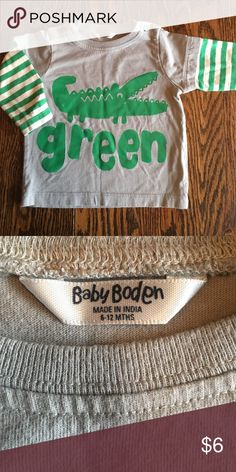 Baby Boden Gator Shirt Gator design and fun striped sleeves. 100% cotton, excellent used condition. Mini Boden Shirts & Tops Tees - Long Sleeve